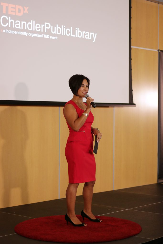 Tisha Marie Pelletier on stage at TEDx Chandler Public Library