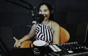 Tisha in the podcast studio at The Forum in Chandler, Arizona