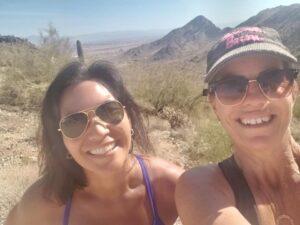 Gwen and Tisha hiking